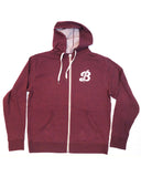 Breton Burgundy Zip Up Sweater - Logo on back