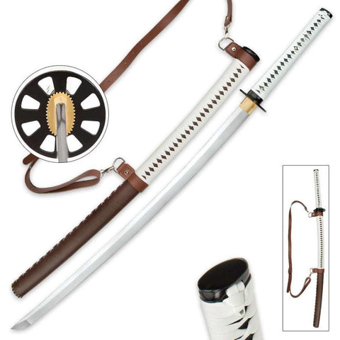 Self Defense Katana Sword and Leather Wrapped Scabbard - FANTASTICBLADES