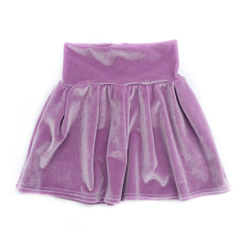 Lilac Velvet Pleated Skirt