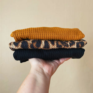 Slouchy Waffle Knit Sweaters - three colors
