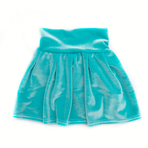 Ocean Velvet Pleated Skirt