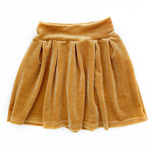 Golden Velvet Pleated Skirt