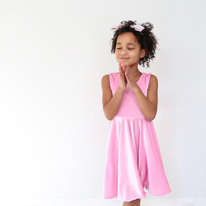 Ballet Pink Velvet Twirl Dress
