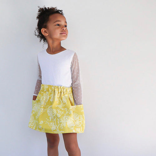 Goldenrod Floral Pocket Skirt