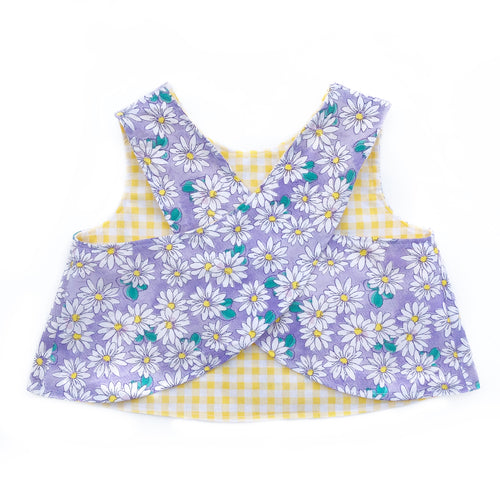 Daisy/Yellow Gingham Reversible Cross Back Top