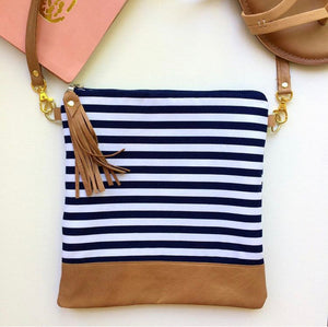 Navy and white striped crossbody bag