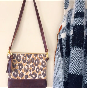 Brown leather/ cheetah print crossbody bag