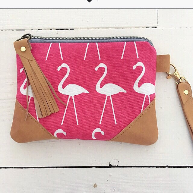 Flamingo Wallet with wrist strap , coral or navy