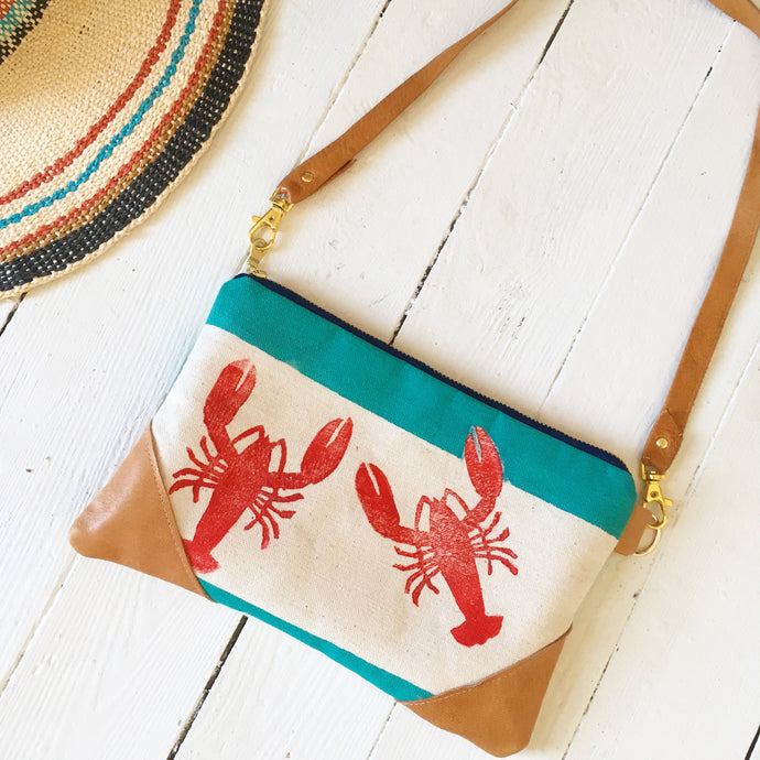 Lobster buoy crossbody/clutch combo