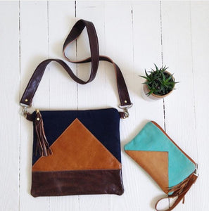 Triangle Wallets /leather + fabric