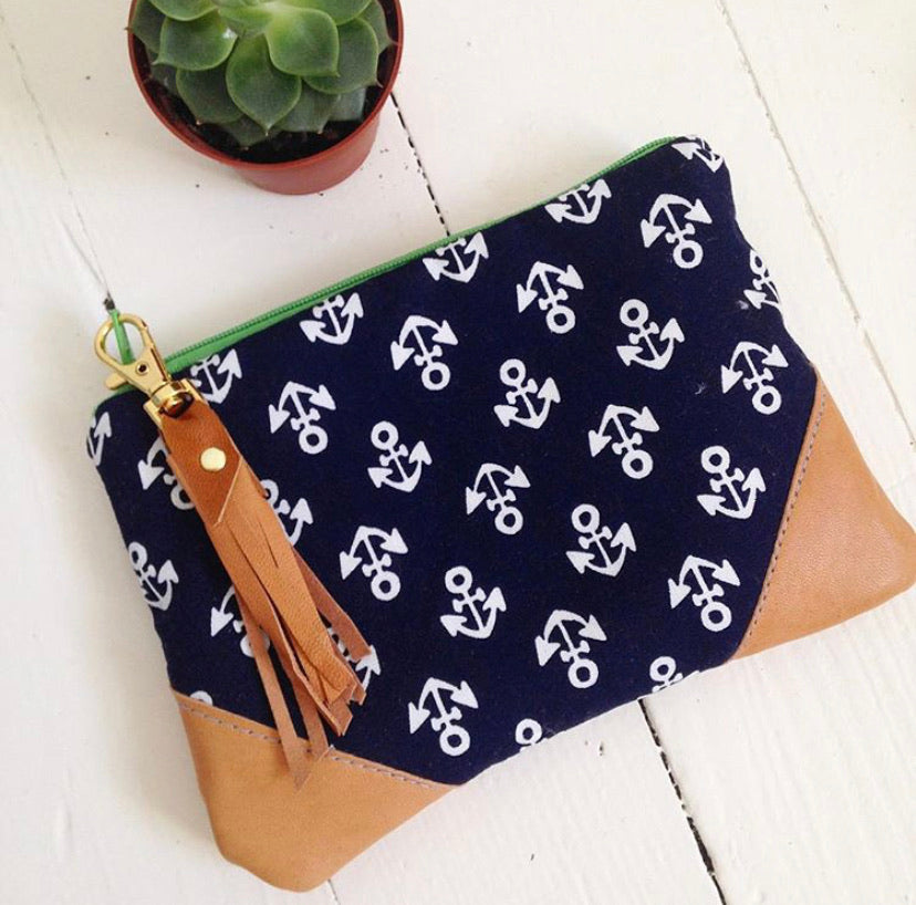 Navy mini anchor wallet