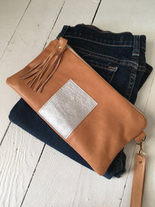 Date night tan clutch bag