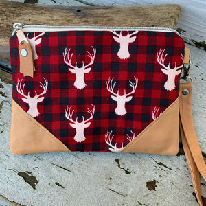 Maine made moose / bull Plaid wallet