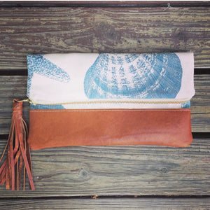 Seashells foldover clutch bag