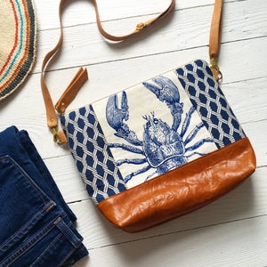 Large nautical lobster crossbody bag