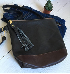 Black and brown leather crossbody