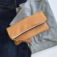 Load image into Gallery viewer, Leather foldover clutch/ purse