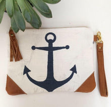 Load image into Gallery viewer, Anchor Clutch Bag- Navy