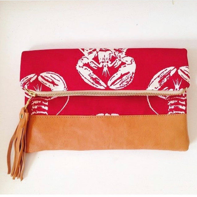 Red lobster foldover clutch bag