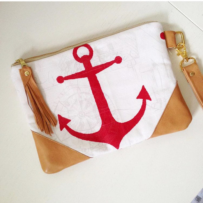 Anchor Clutch Bag - red