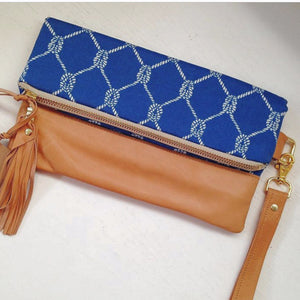 Royal blue nautical ropes foldover clutch bag