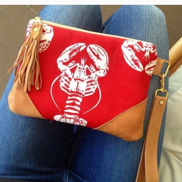 Red lobster clutch bag