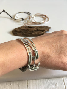 Silver Anchor leather tube bead bracelet