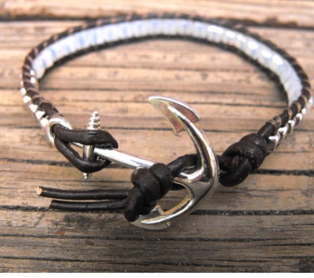 Anchor beaded leather wrap bracelet