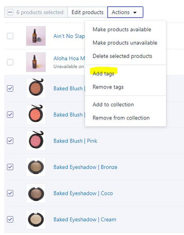 Add tags to products in Shopify