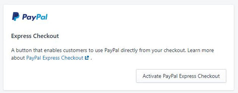 Activate PayPal Express Checkout