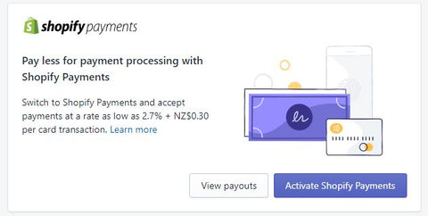 Click Activate Shopify Payments