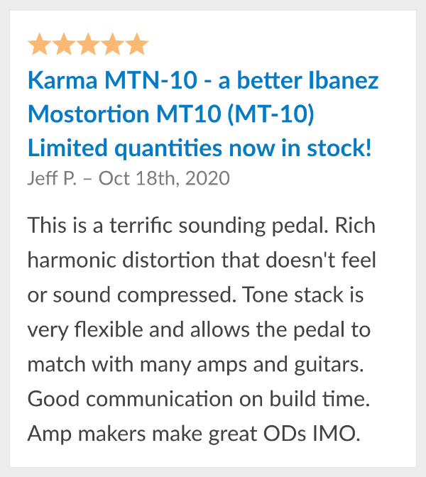 guitar pedal reviews karma mtn 10