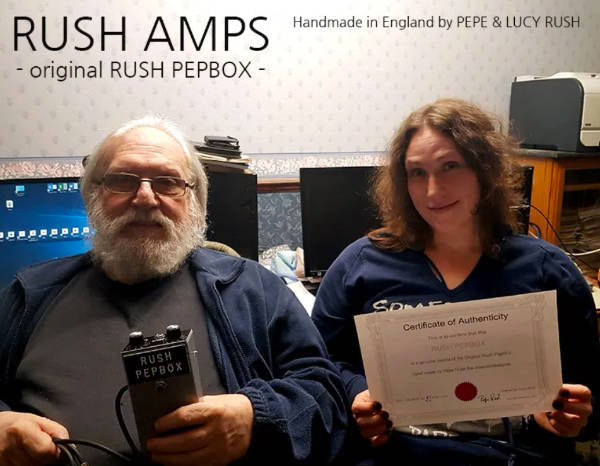 Rush Amps founder Pepe Rush with his daughter, Lucy Rush.