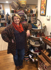 Stars Hollow Yarns owner, Lisa Clark, in her shop