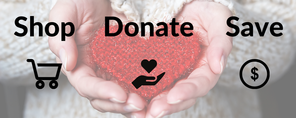 Hands cupped around a knitted heart, overlaid with icons: Shop, Donate, Save