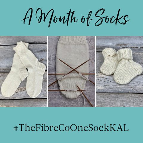 """Three pairs of socks, in various stages of completion, with a turquoise border and the words """"A Month of Socks"""" and #TheFibreCoSockKal"""