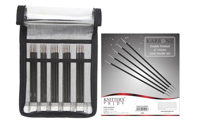 "6"" Double Pointed Sock Needle Set - Knitter's Pride Karbonz"