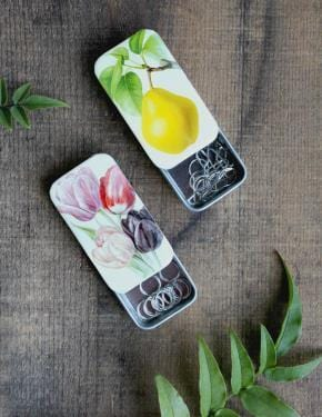 Vintage Pear and Tulip Stitch Marker Tins