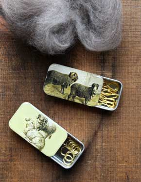 Vintage Sheep Stitch Marker Tins
