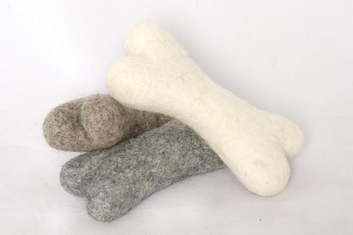 Felted Wool Dog Bones (natural colors)