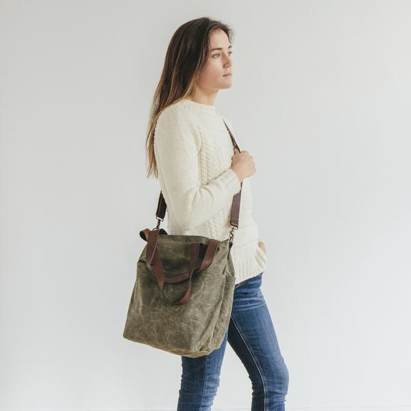 Waxed Canvas Crossbody Tote