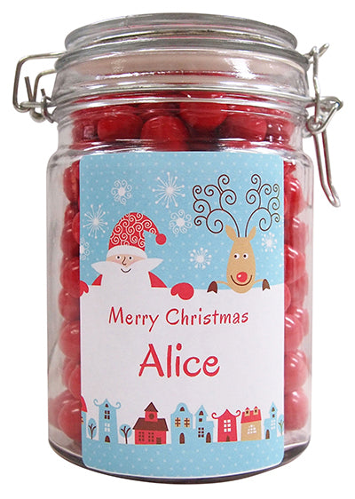 Xmas - Vintage Santa Personalised Lolly Jar