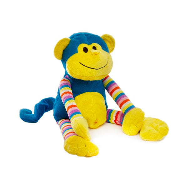 Bright Stripy Monkey - Blue 38cm