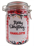 Xmas -  Christmas Berries Personalised Lolly Jar