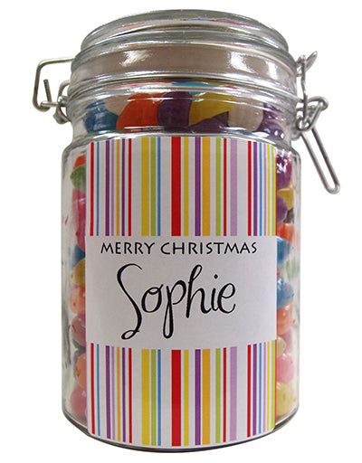 Xmas -  Candy Stripe Personalised Lolly Jar