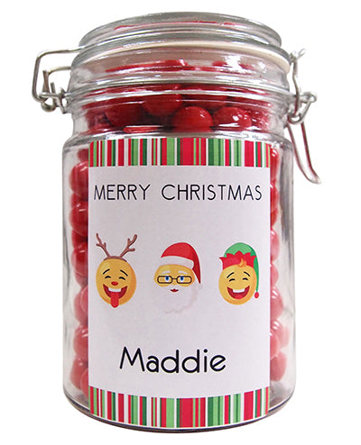 Xmas -  Xmas Emojis Personalised Lolly Jar