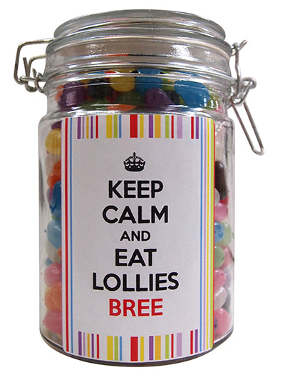 Keep Calm Personalised Lolly Jar