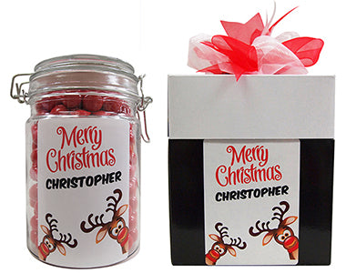 Xmas - Rudolph Personalised Lolly Jar