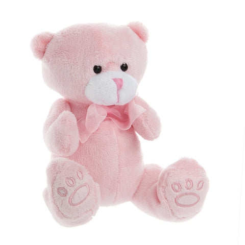 Baby Paw Print Teddy Pink 15cm