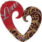 332 Love Heart Gold Damask 76cm